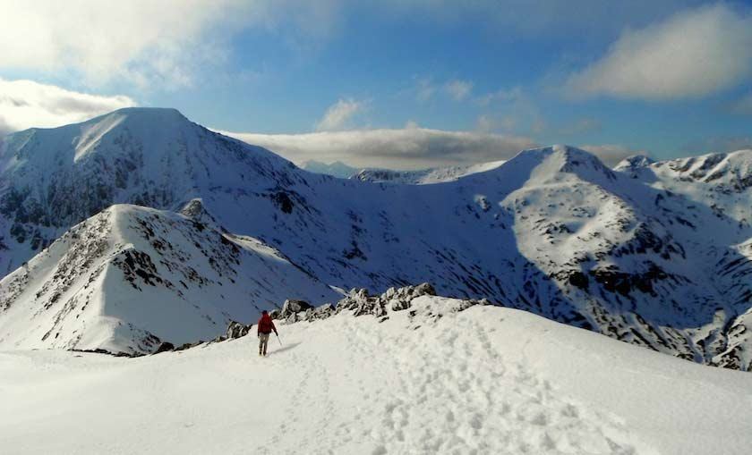 Ring of Steall, Winter walkers view. Scottish Highlands