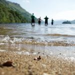 Paddling in Loch Lomond on the West Highland Way