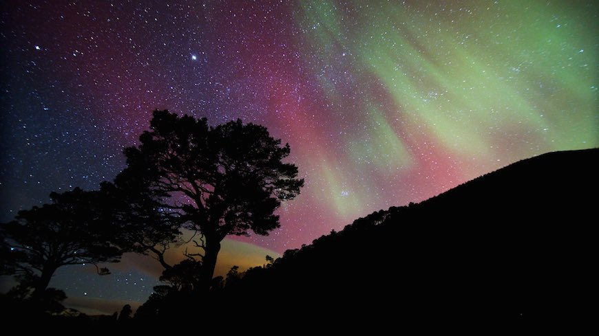 The Northern Lights above Meall a Bhuachaille in the Cairngorms