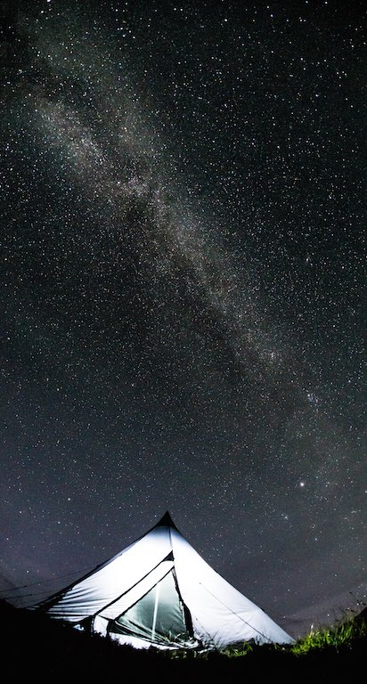 The Milky Way camping in Scotland.