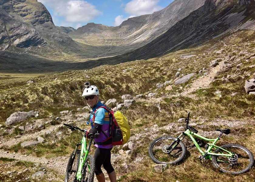 Posing with mountain bike in Torridon