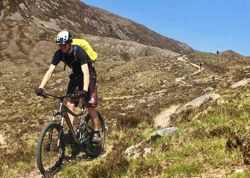 mountain biking downhill in torridon