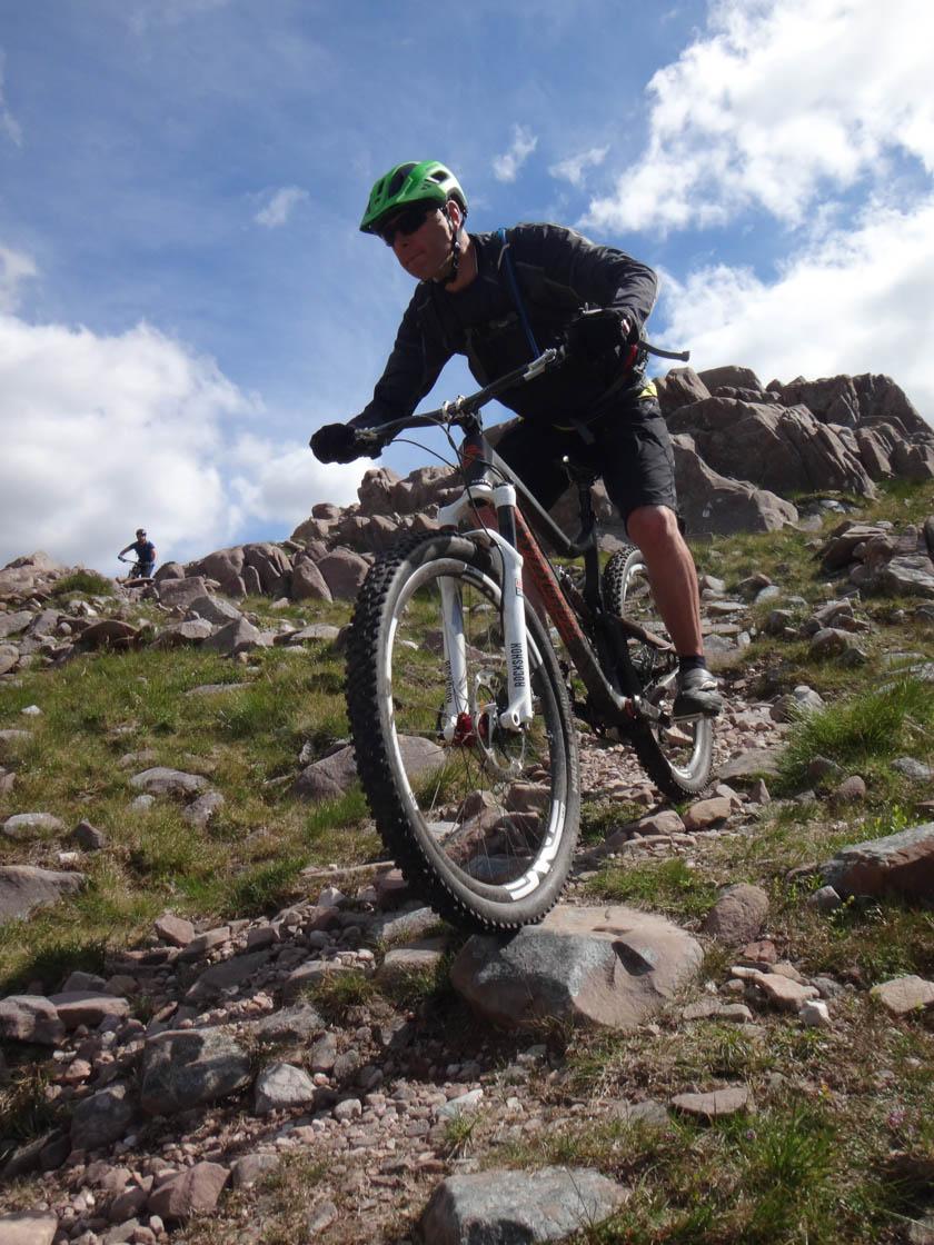 mountain biking on rocky paths in torridon