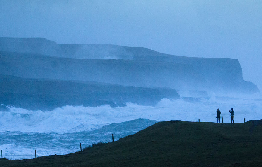 Hiking Cliffs of Moher storm