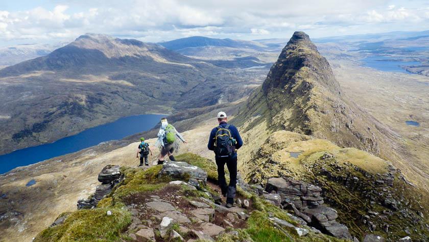 Summer hiking in Assynt Highlands of Scotland
