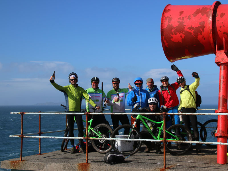Mountain biking travellers celebrating scotland